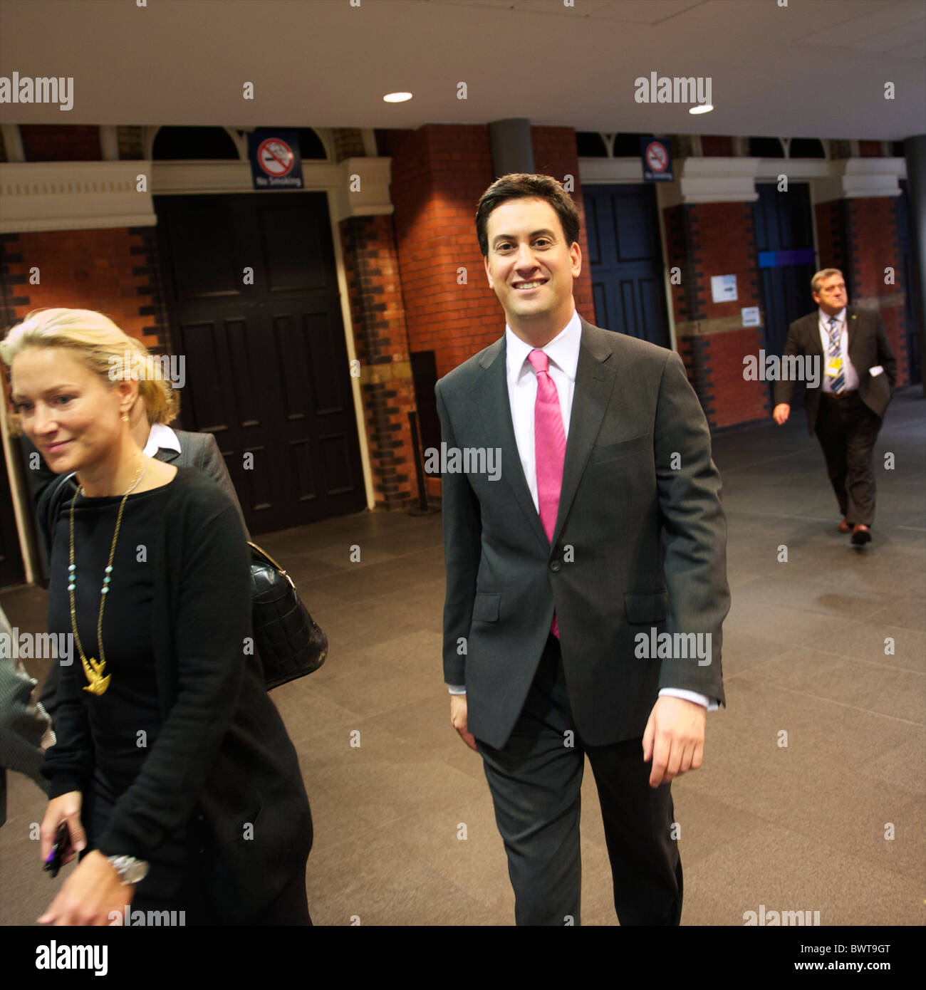 Newly elected Labour leader Ed Miliband departs the auditorium at the Labour Party Conference in Manchester on 29 - Stock Image