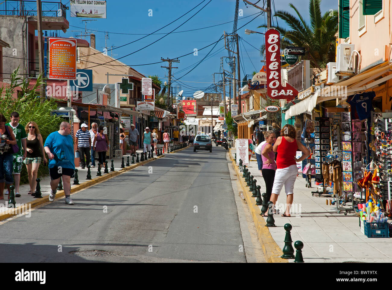 Sidari main street, Corfu Ionian Islands Greece. - Stock Image
