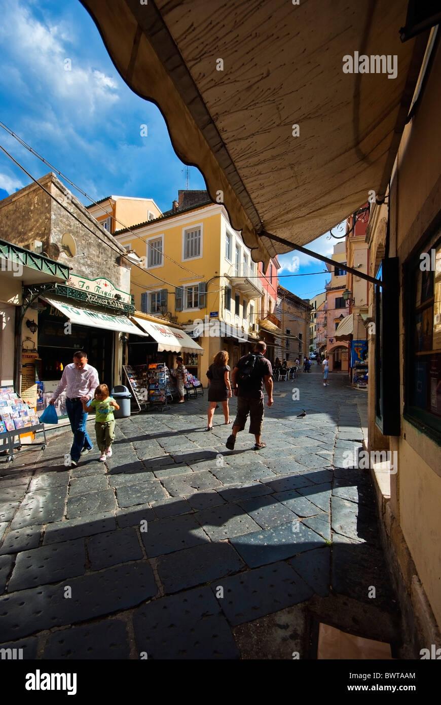 Street scene in Corfu Town, Ionian Islands Greece. - Stock Image