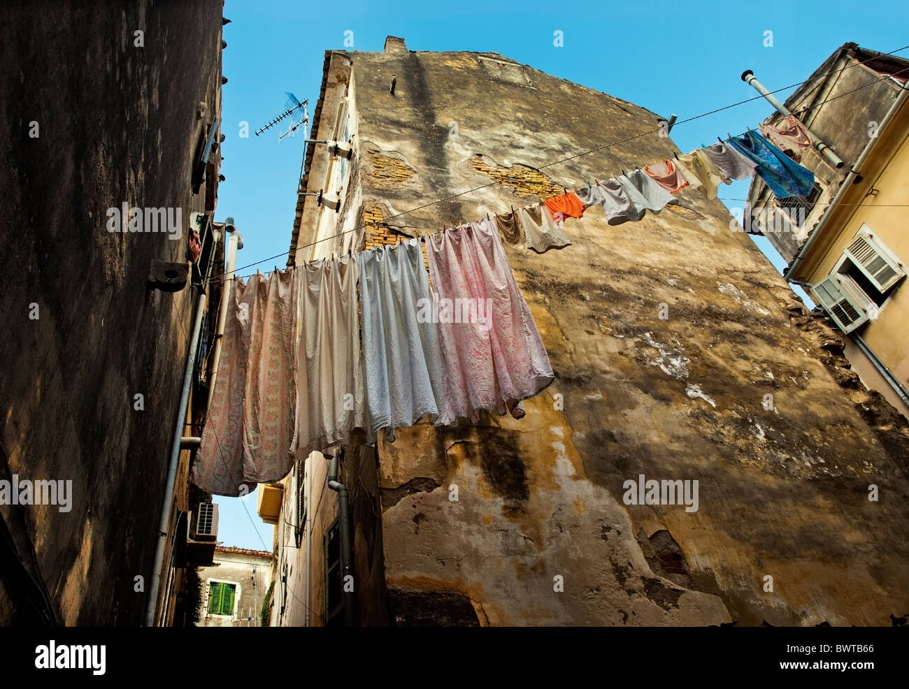 Back Street in Corfu Town, Ionian Islands Greece. - Stock Image