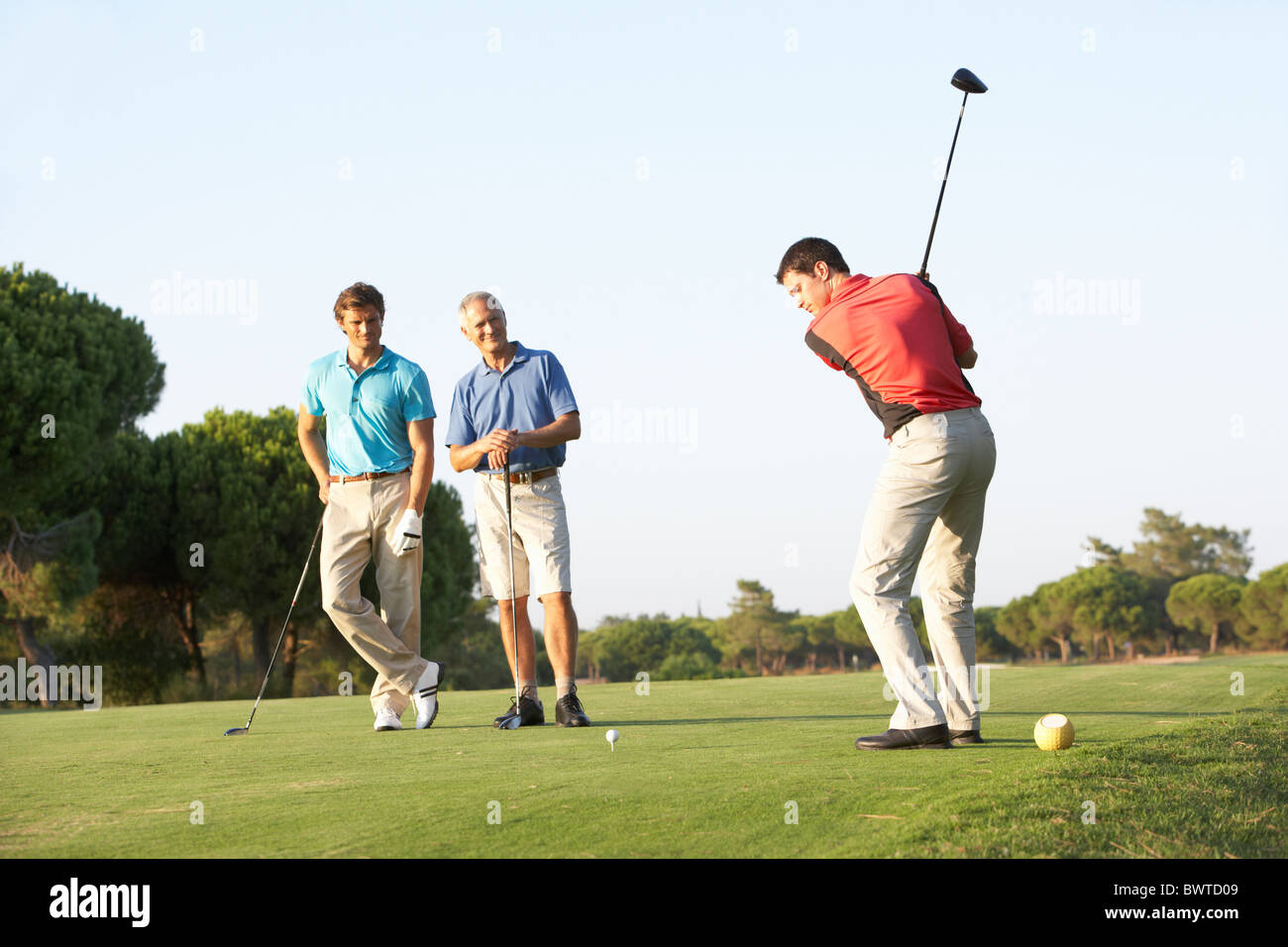 Group, Male Golfers Teeing,f On Golf Course - Stock Image