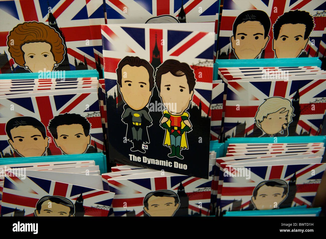 Greeting cards with cartoon depictions of prominent British politicians are on sale as souvenirs in a giftshop on - Stock Image