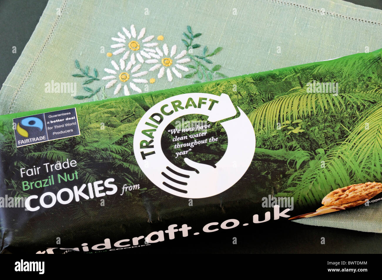 Packet of Traidcraft Fair Trade Brazil Nut Cookies - Stock Image