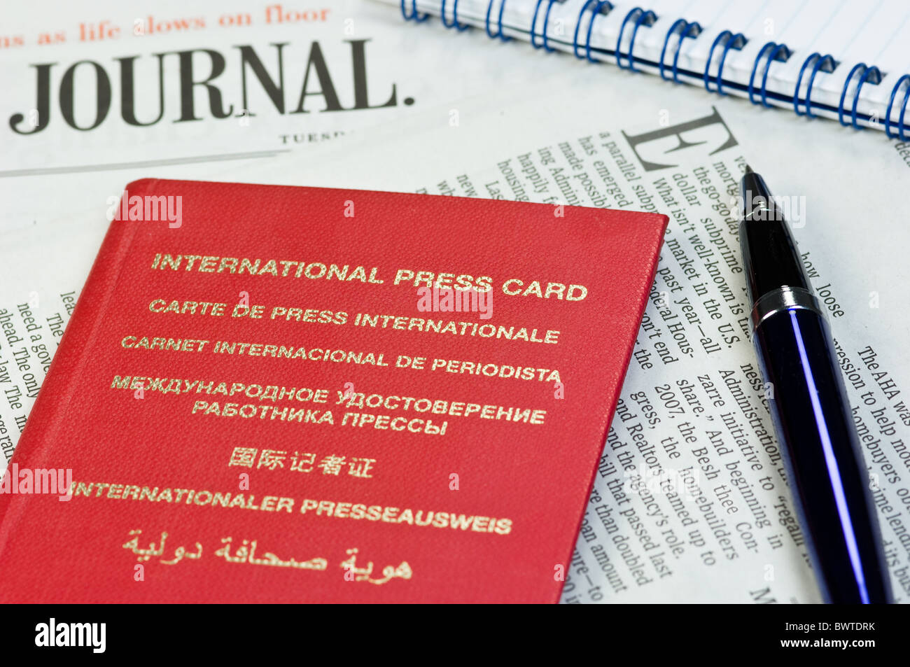 International press card - Stock Image