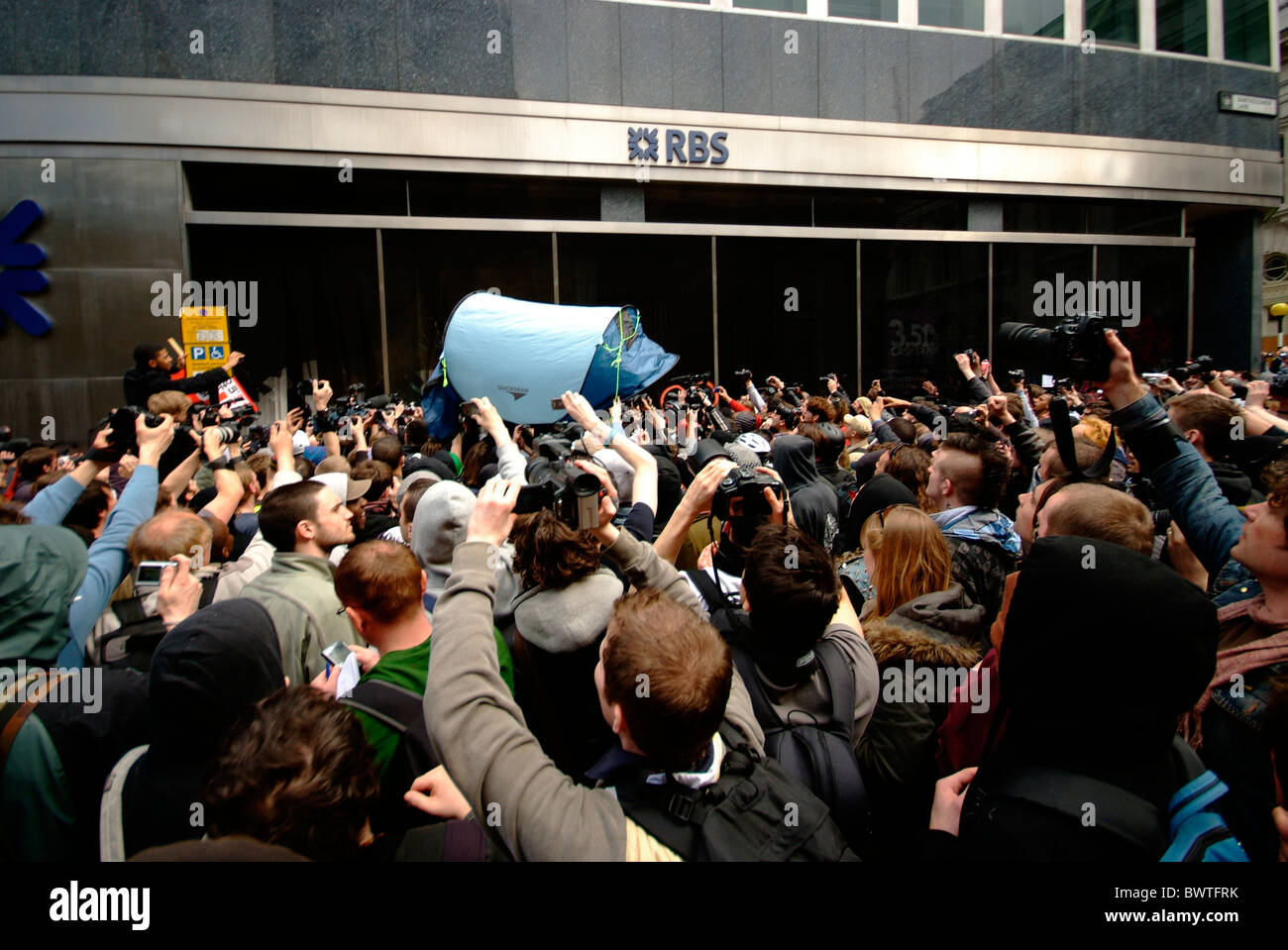 G20 bankers bailout protest in City of London, UK as RBS bank is attacked during the summit of world leaders. - Stock Image