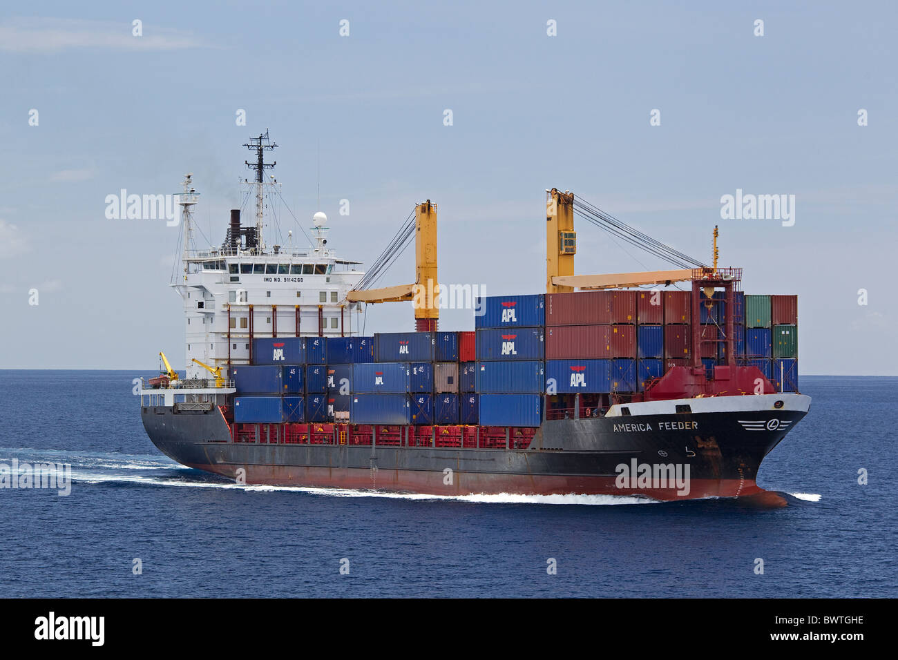 Cargo ship at sea, Atlantic Ocean with shipping containers - Stock Image