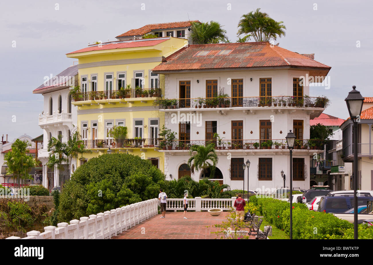 Panama City Panama Housing On Waterfront And Walkway Casco Viejo Stock Photo Alamy