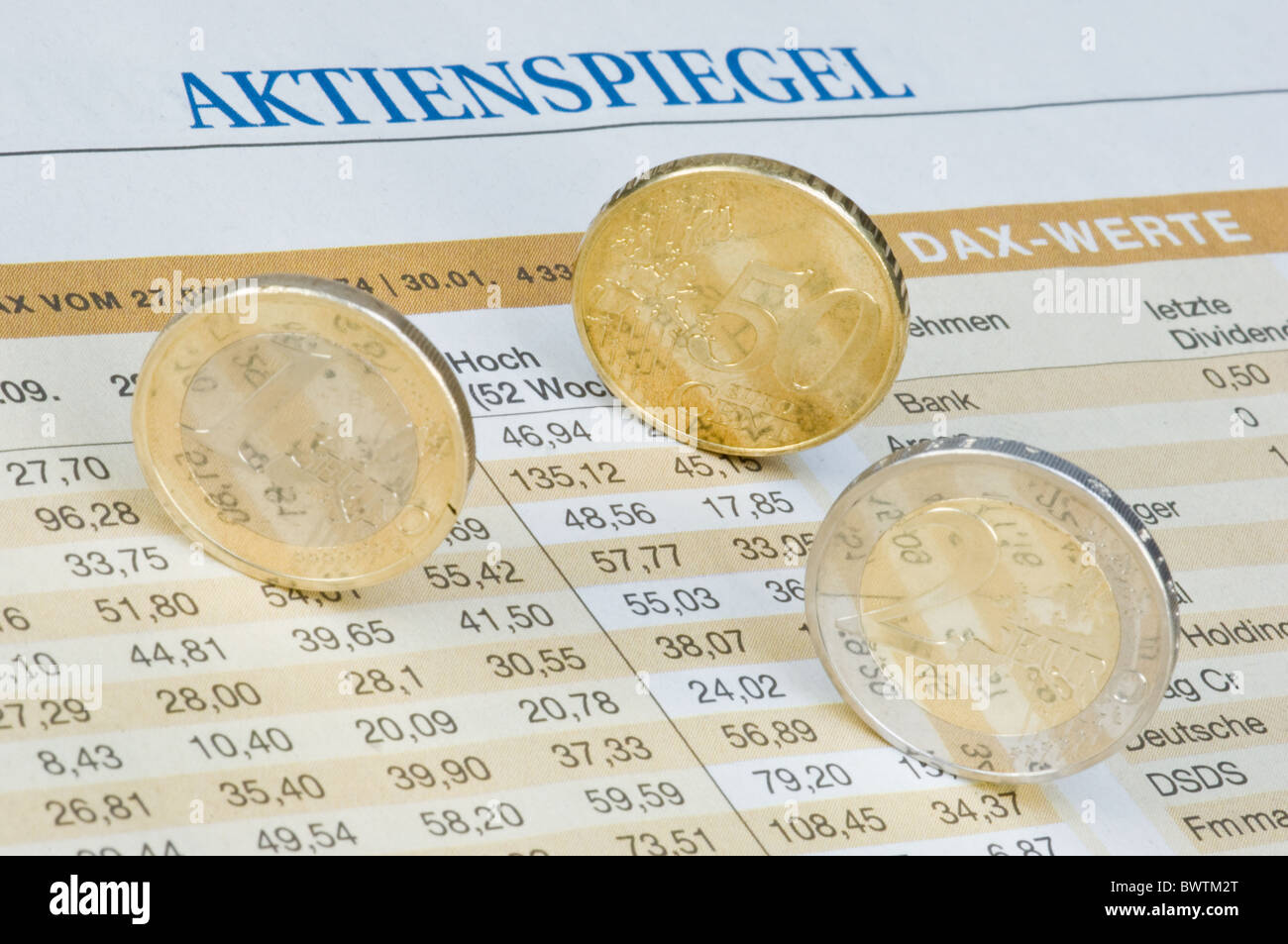 Euro coins on course table - Stock Image