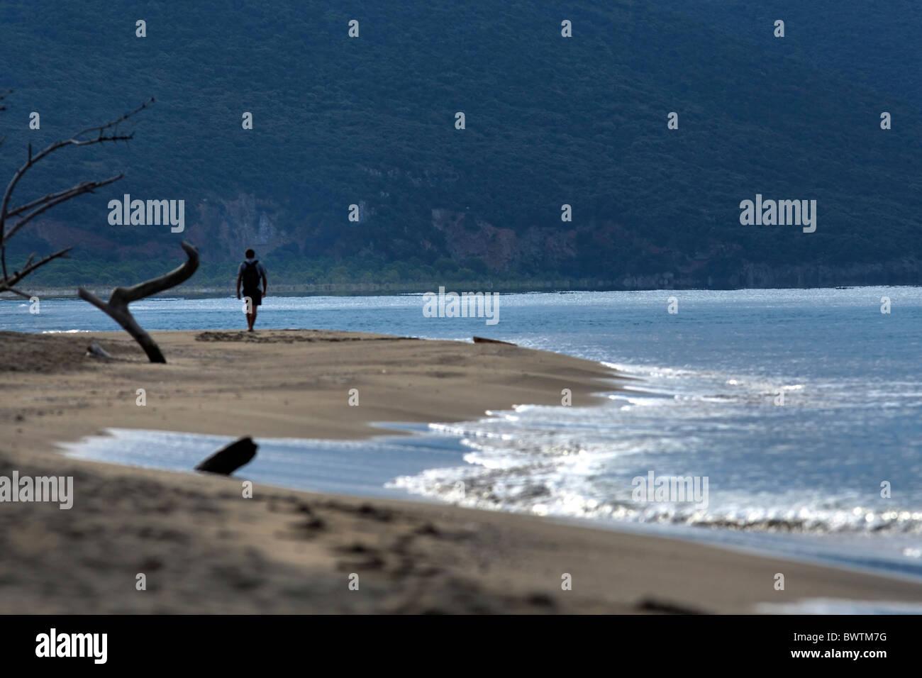 Man walking along the wild beach of Parco Naturale della Maremma, symbolic picture,Tuscany, Italy - Stock Image