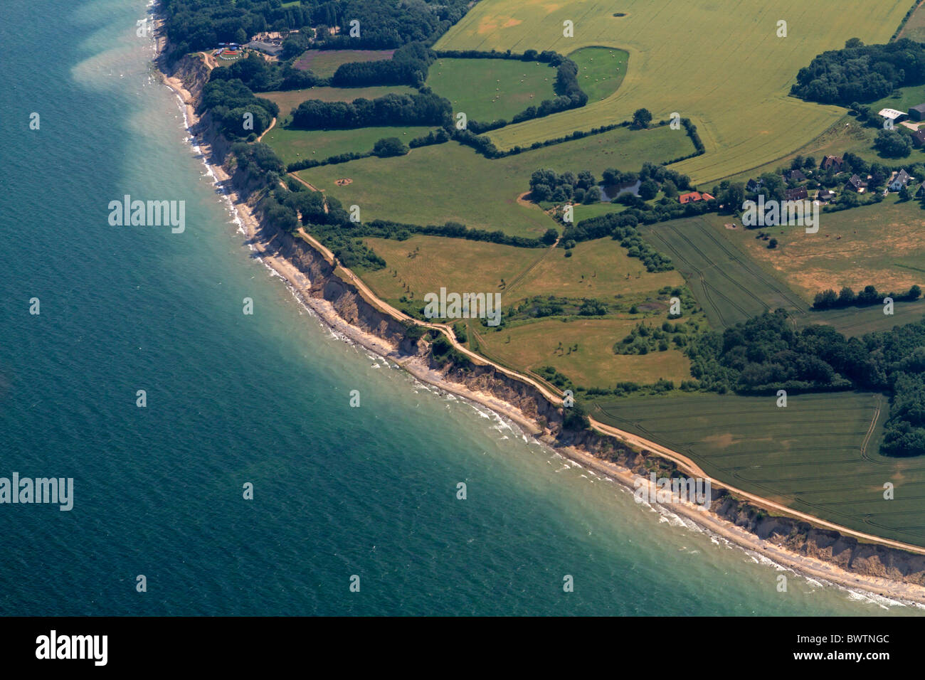 Aerial photograph of steep coast Brodtener Ufer, Baltic Sea, Schleswig-Hostein, Germany - Stock Image
