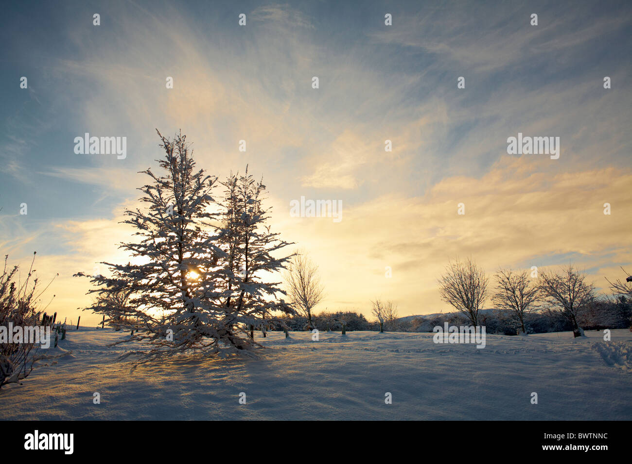 Wintery sunset and Snow in Nidderdale, North Yorkshire - Stock Image