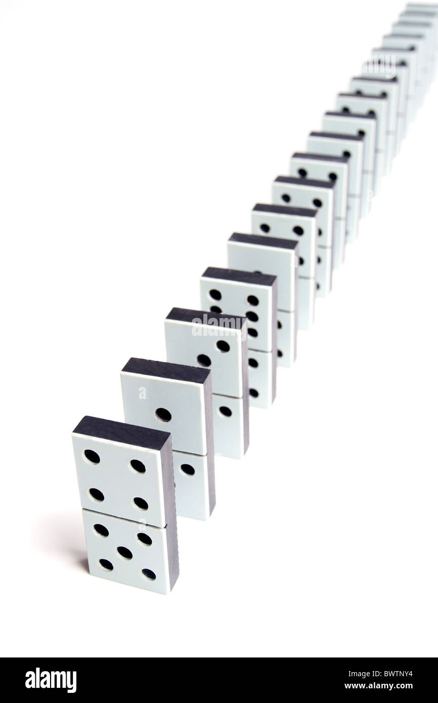 Domino pieces line on white background - Stock Image