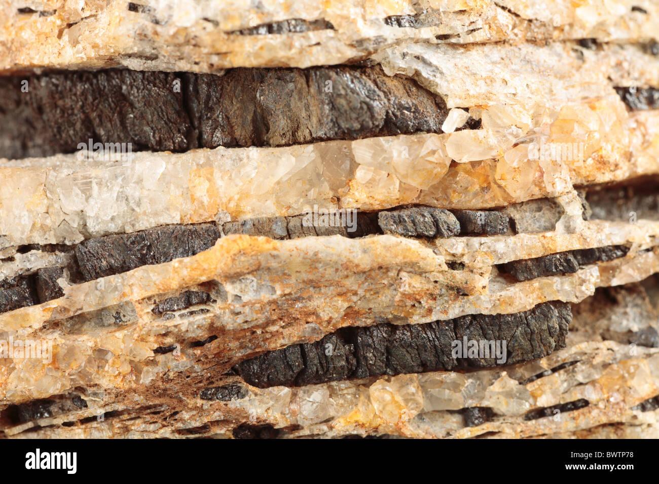 mineral vein veining geology geological rock mineralisation ore wales welsh britain british sulphide zinc sphalerite - Stock Image