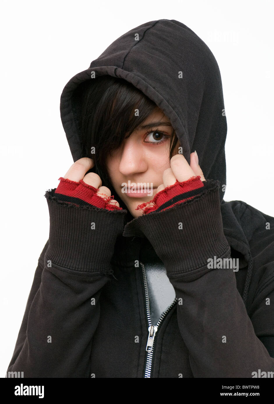 Teenager with hooded jacket - Stock Image