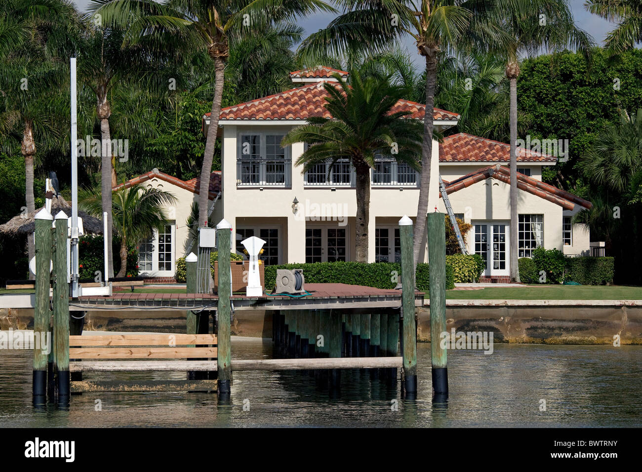 Luxury waterfront mansion in west palm beach florida usa