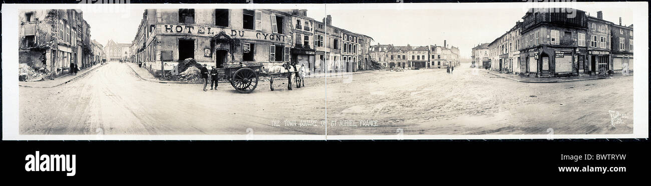 World War I WW1 Town square St. Mihiel France Europe 1918 destruction historical historic history destroyed - Stock Image