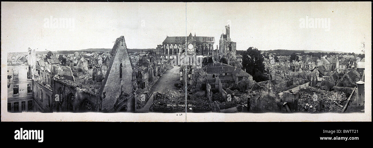 Amiens France Europe 1919 World War I WW1 destroyed town ruins historical historic history town city - Stock Image