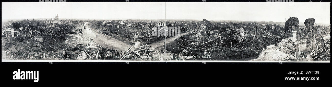 Lens France Europe World War I WW1 devastated coal mining region historical historic history destruction 19 - Stock Image