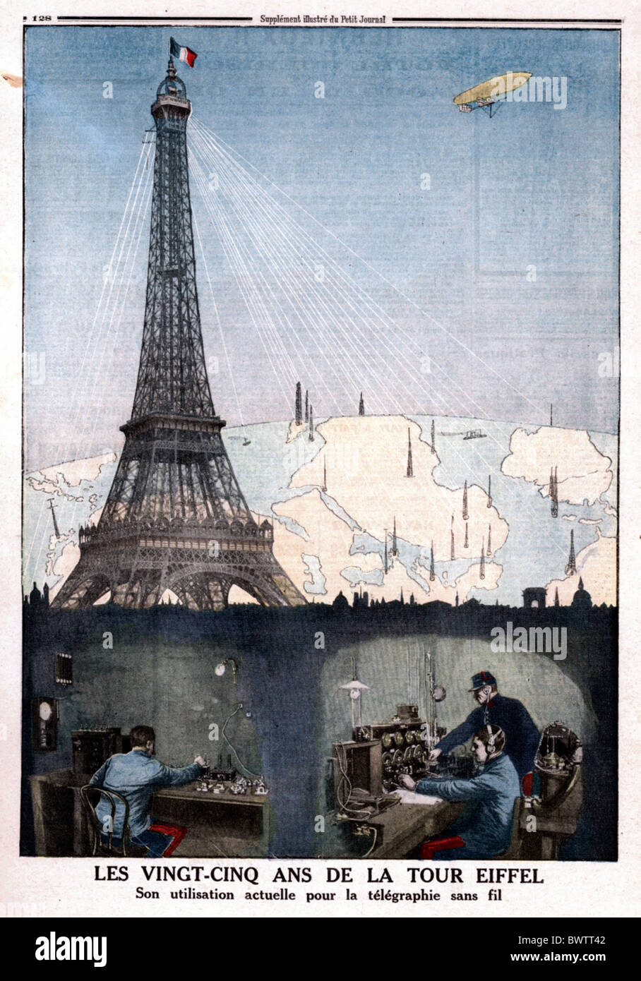Le Petit Journal illustration 1914 Eiffel tower Paris France Europe historical historic history magazine co - Stock Image
