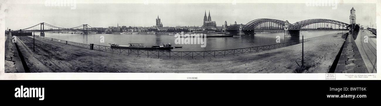 Cologne Germany Europe ca. 1921 dome bridges Rhine river historical historic history old town promenade ri - Stock Image