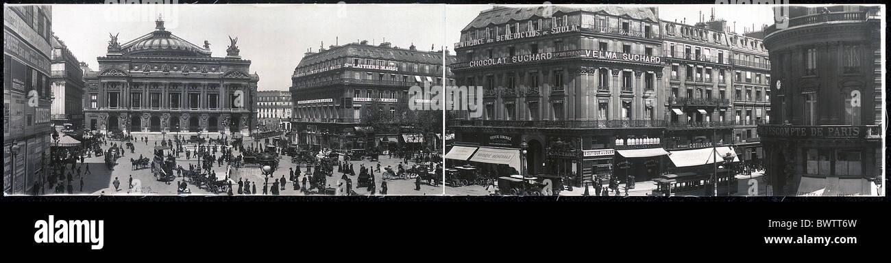 Place de L'Opera Paris France Europe ca. 1909 historical historic history traffic opera house square people - Stock Image