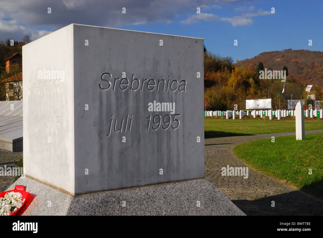Srebrenica, Bosnia and Herzegovina.  Potocari Genocide Memorial and Muslim cemetery. Stock Photo