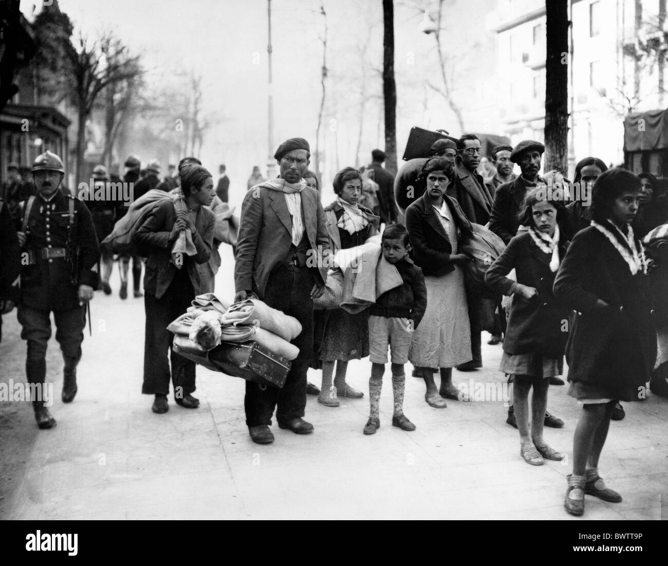 Spain Europe Spanish Civil War refugee historical historic history Luchon France Europe 1938 civil populati - Stock Image