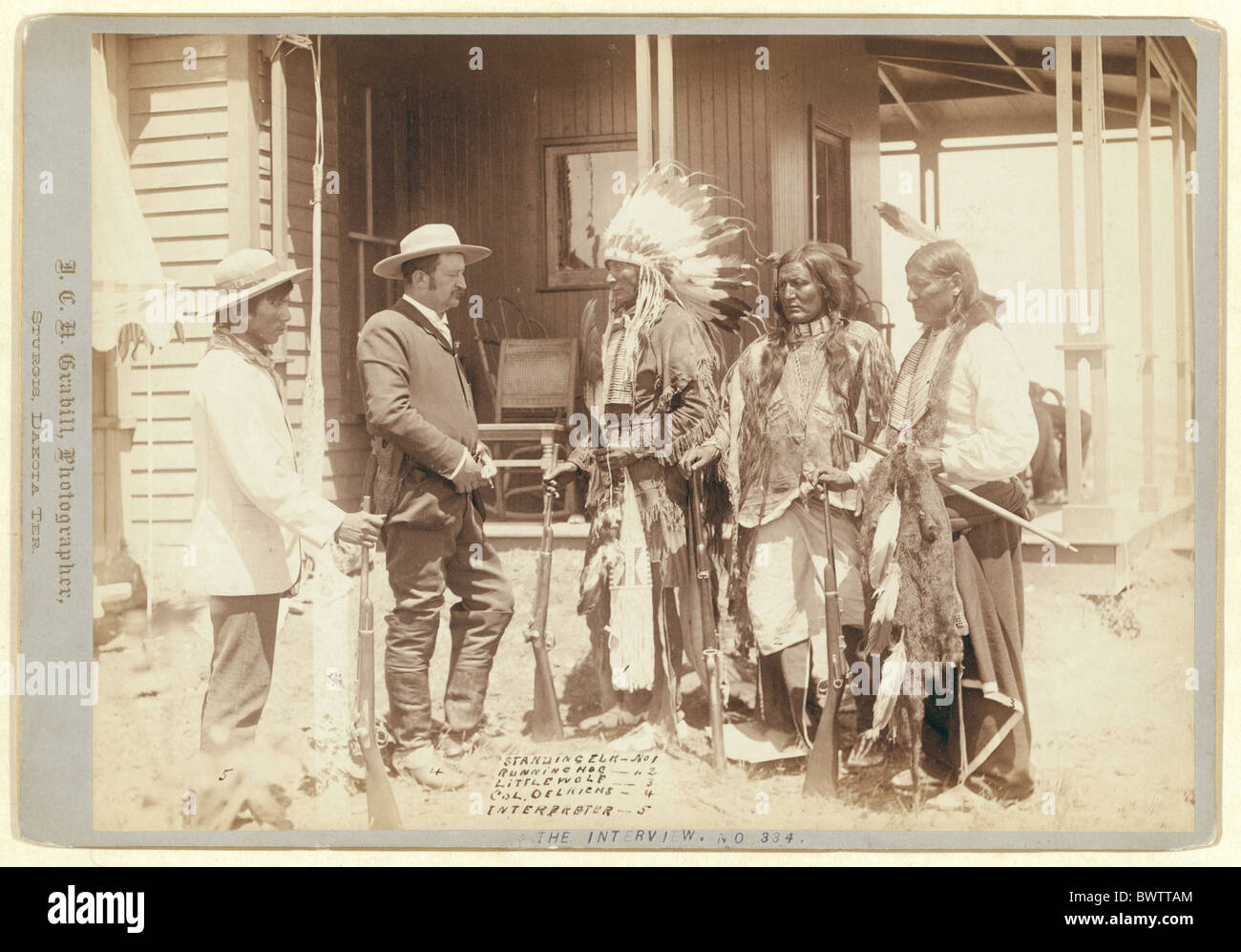 Interview USA America United States North America Indians Standing Elk Running Hog Little Wolf Col. Oelrich - Stock Image