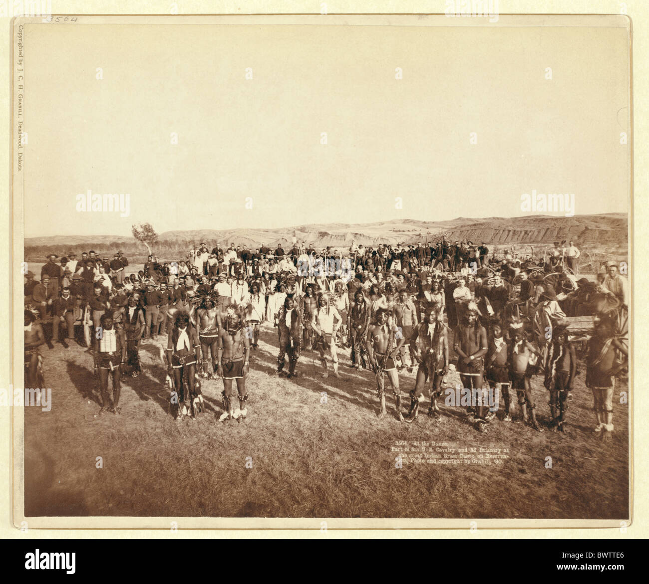 At the Dance wild west U.S. Cavalry Infantry Indian Grass Dance Reservation indians army USA America United - Stock Image