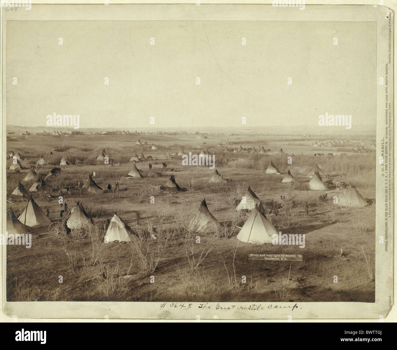 USA America United States North America Indians indian camp tipis war Photo John Grabill ca. 1890 prairie p - Stock Image