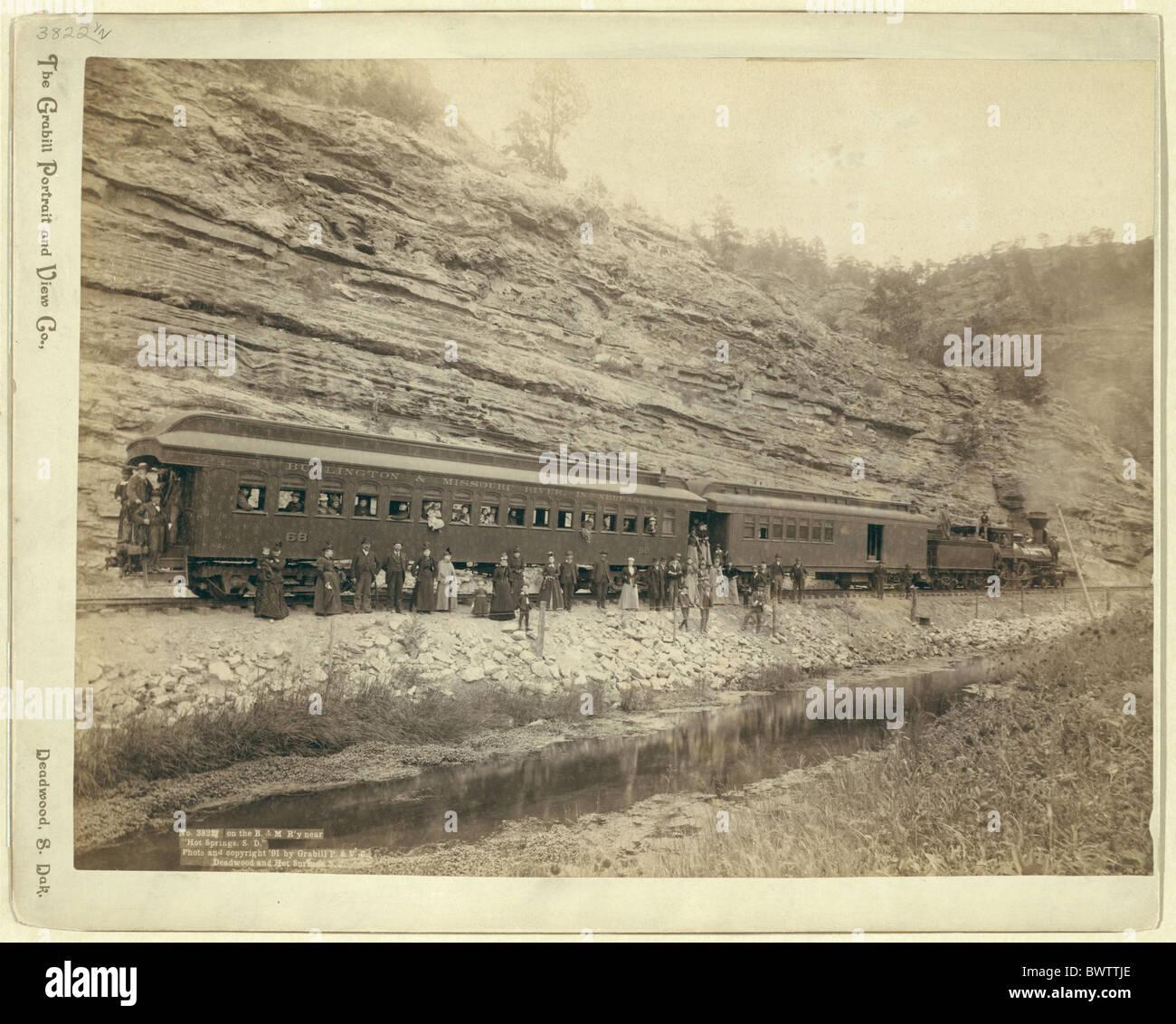 USA America United States North America Hot Springs South Dakota wild west 1890 railroad passengers United S - Stock Image