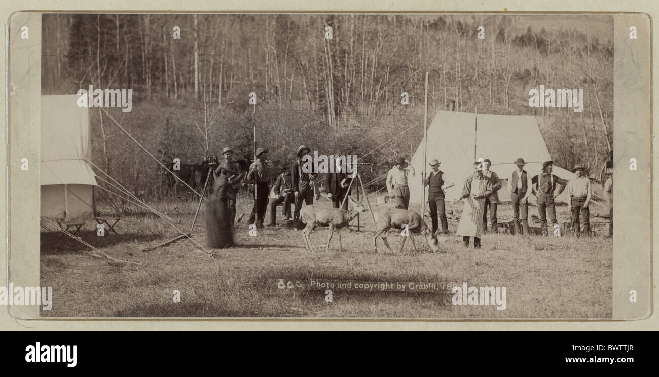 Railroad Engineer Corps wild west USA America United States North America surveyor construction tent histori - Stock Image