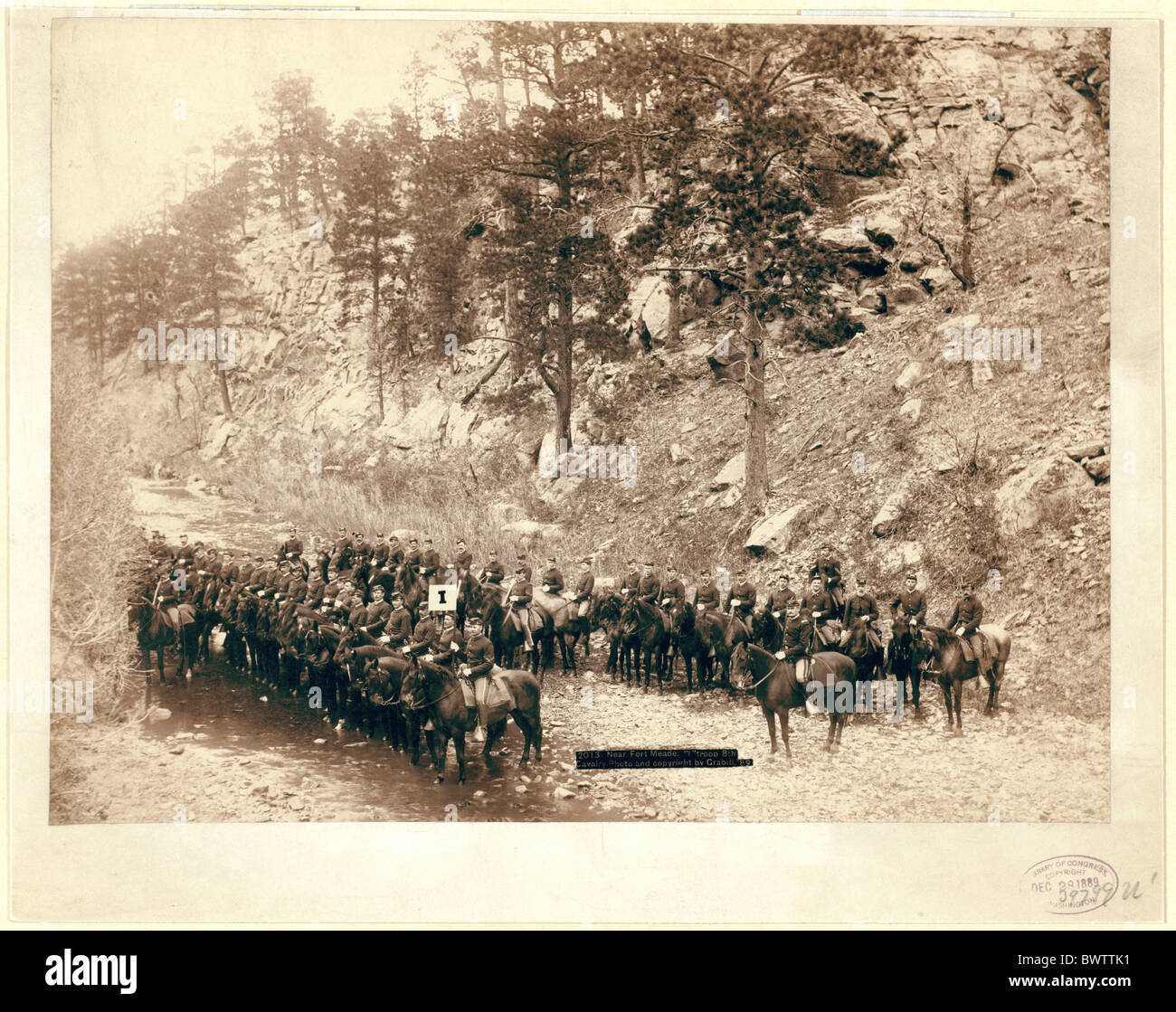 Troupe I cavalry Fort Meade USA America United States North America army wild west John Gabrill 1890 river - Stock Image