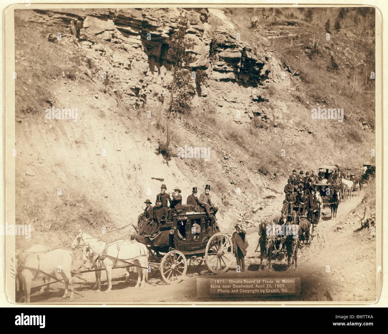 USA America United States North America Pine Ridge South Dakota stage coach transportation historical canyon - Stock Image