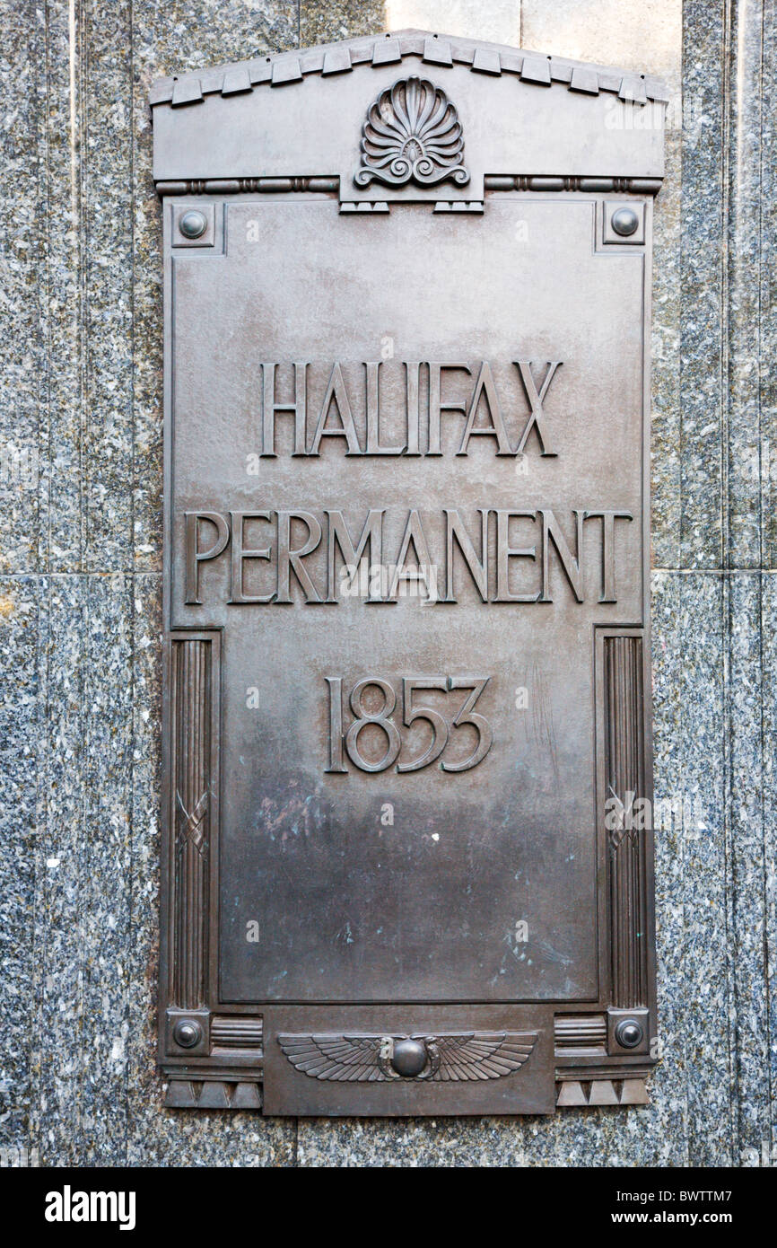 Old Halifax Permanent 1853 Sign in Halifax Town Centre West York - Stock Image