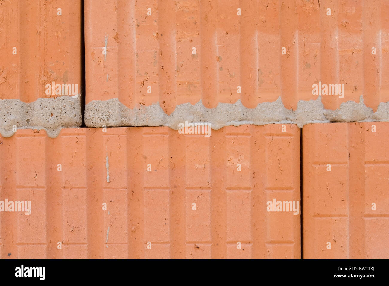 Hollow brick masonry - Stock Image