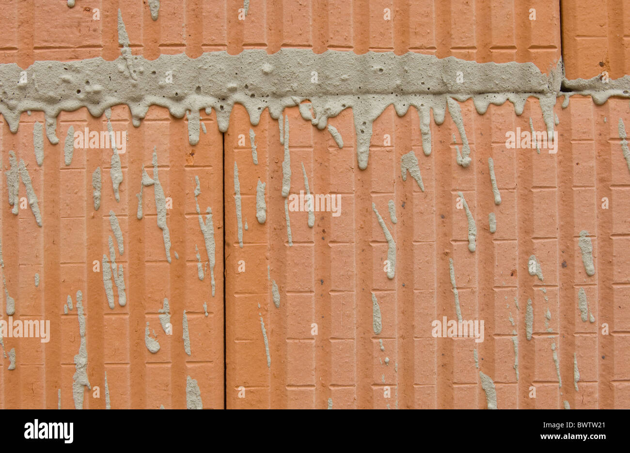Hollow brick masonry Stock Photo
