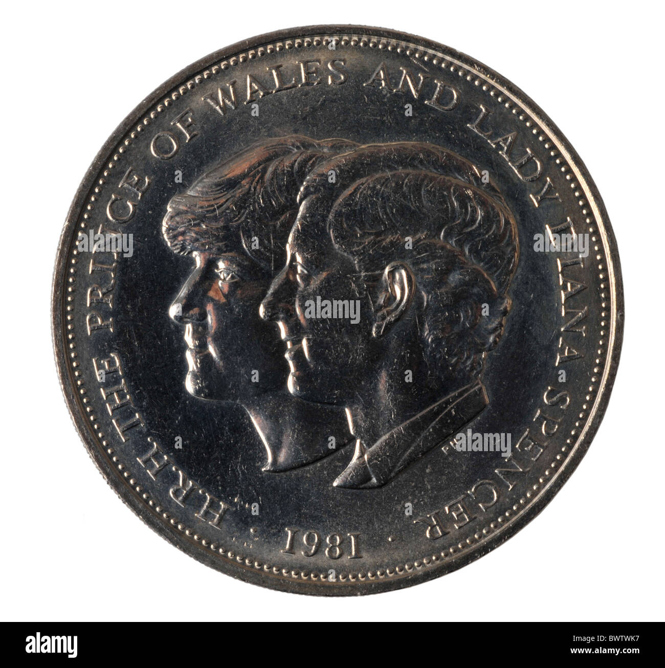 Commemorative coin celebrating the marriage of Prince Charles and Lady Diana - Stock Image