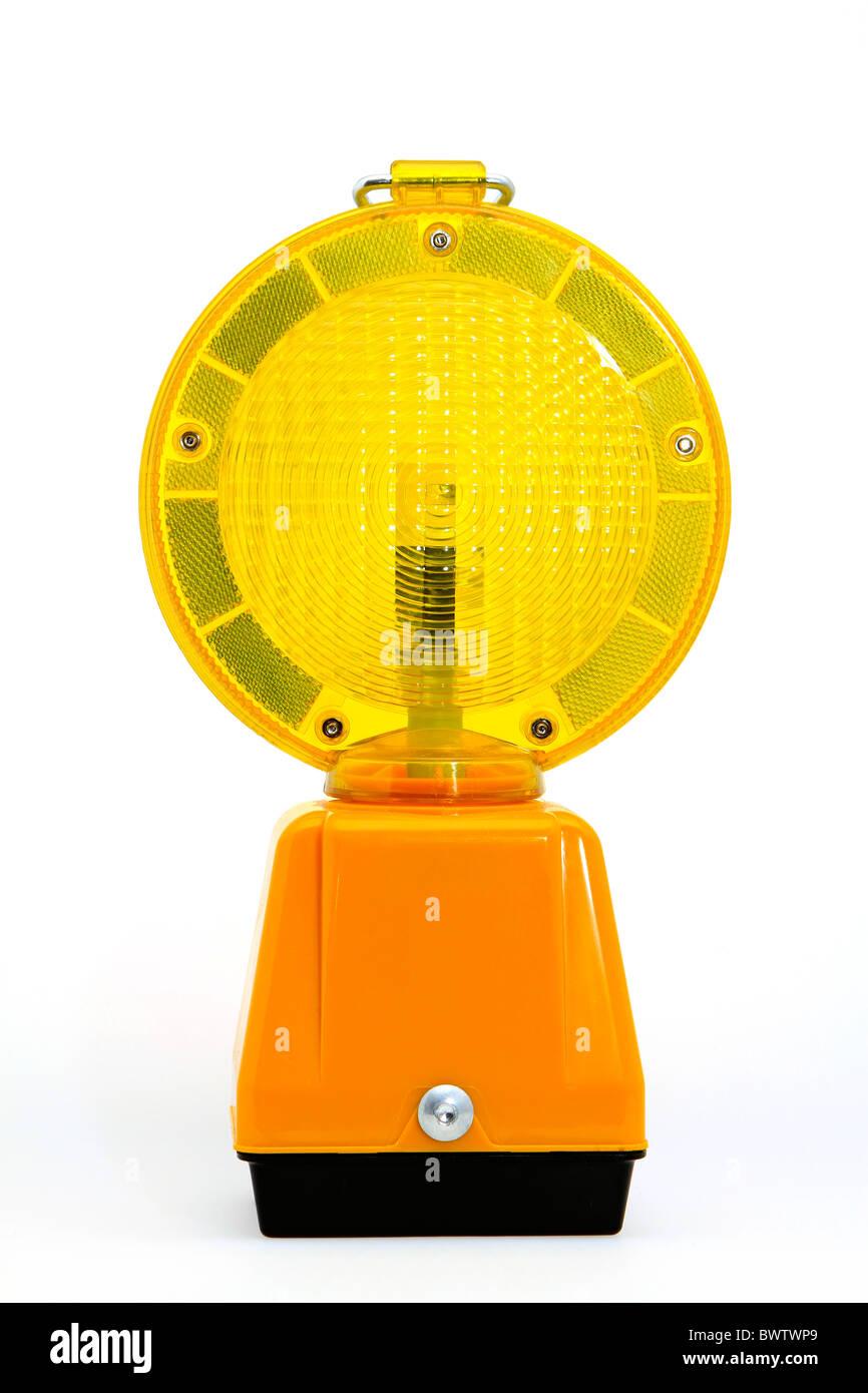 Yellow warning lamp Stock Photo