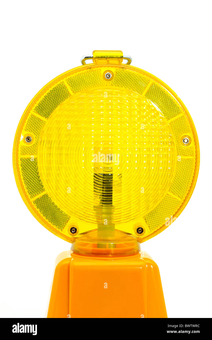 Yellow warning lamp Stock Photo