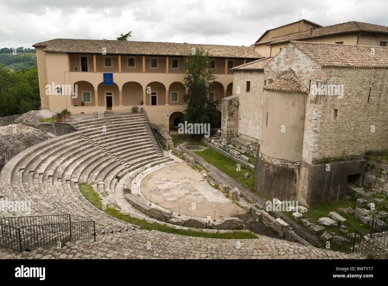 Ruin of amphitheatre at Piazza della Liberta, Spoleto, Umbria - Stock Image