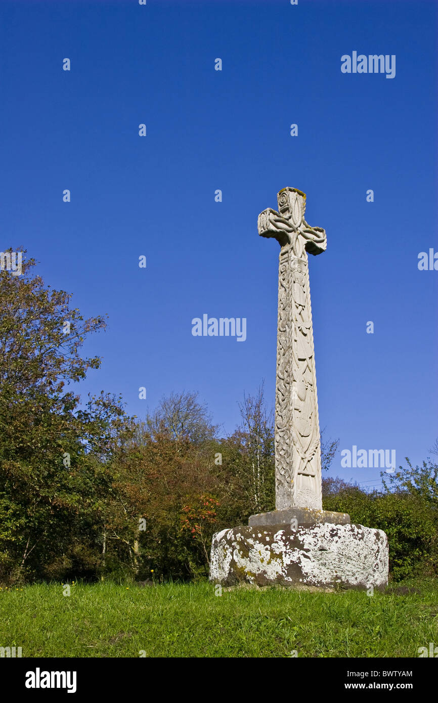 Autumn Architecture Art Blue Blue Sky Britain British Carve Carved Carving Celtic Celts Christian Christianity Church - Stock Image