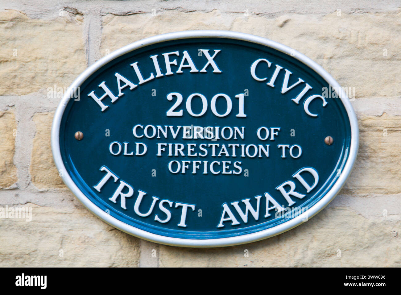 Civic Trust Award Plaque on old Fire Station at Dean Clough Halifax West Yorkshire England - Stock Image