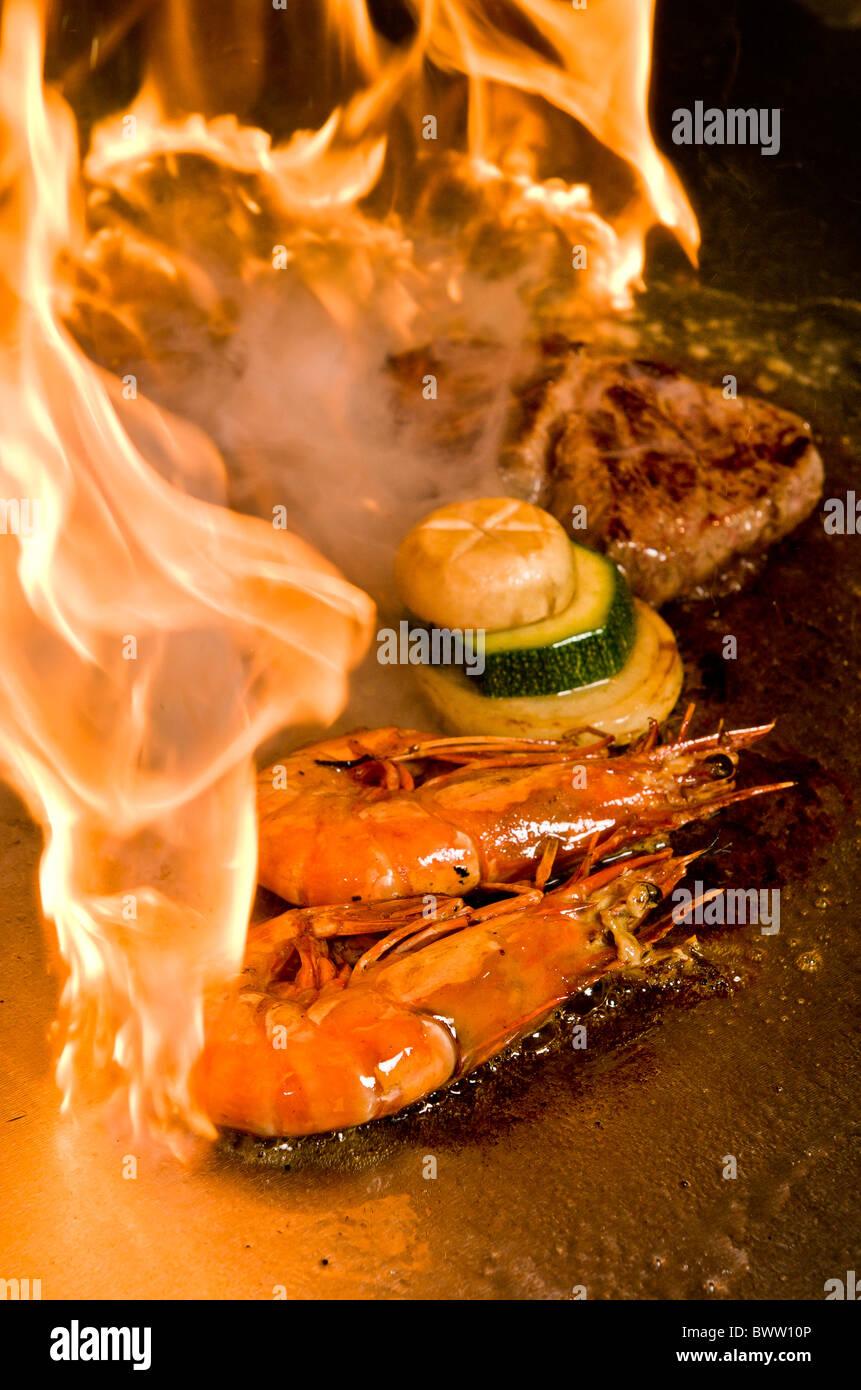 steak and shrimp Teppanyaki. - Stock Image