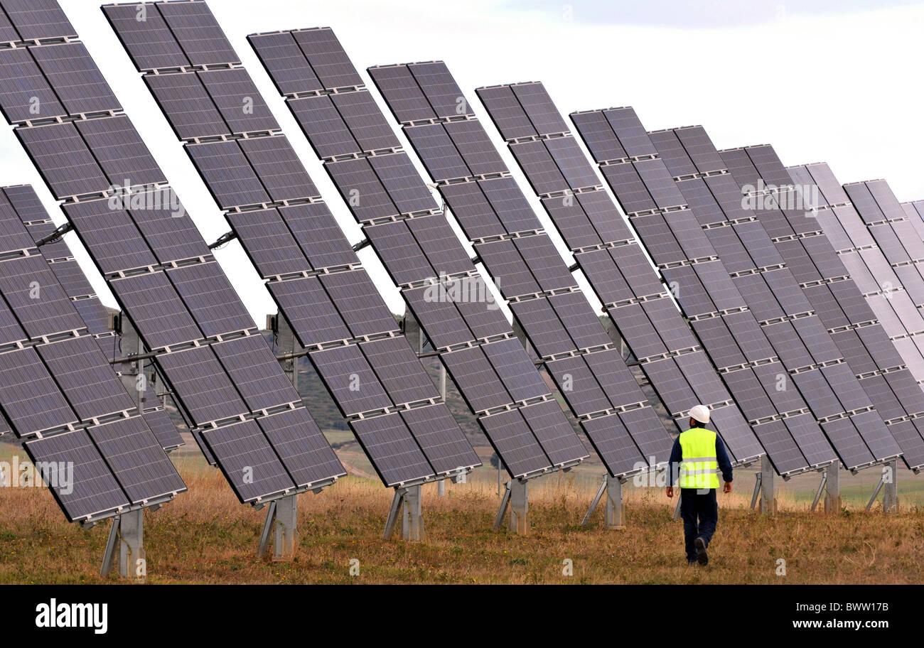Solar power farm, solar power park complex at Los Arcos, Navarra, Spain Stock Photo