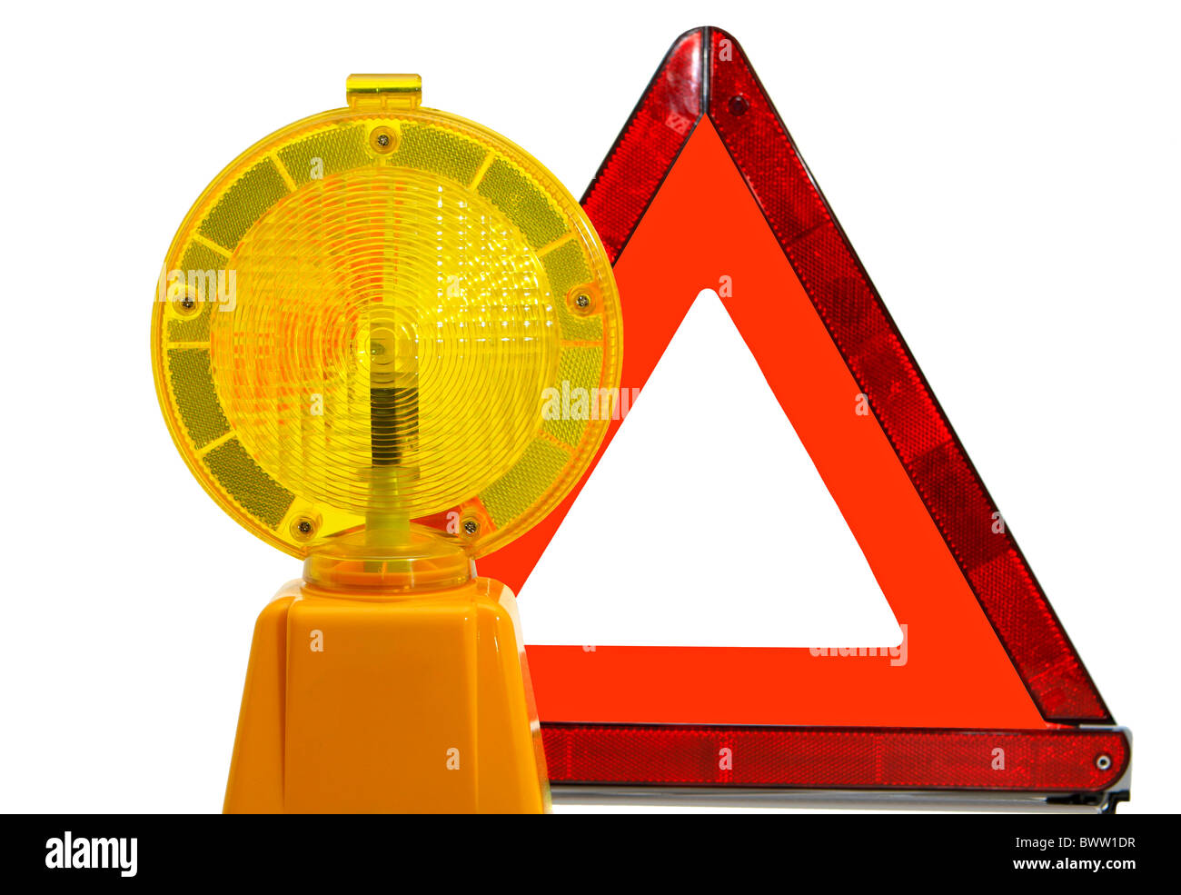 Yellow warning lamp and triangle Stock Photo