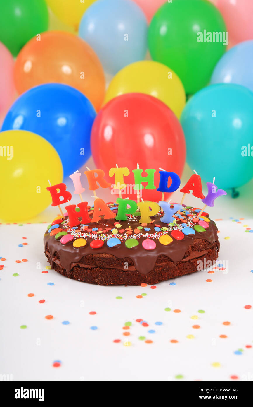 Birthday Cakes Happy Cake Candles Balloons Party Decoration Adornment Studio Celebration Colorful C