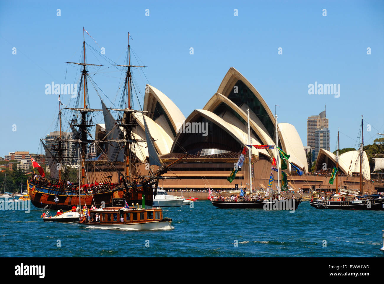 Australia Sydney Australia Day Ferrython Great Ferry Race National day Ferries Boat Boats Vessels Vessel Sh - Stock Image