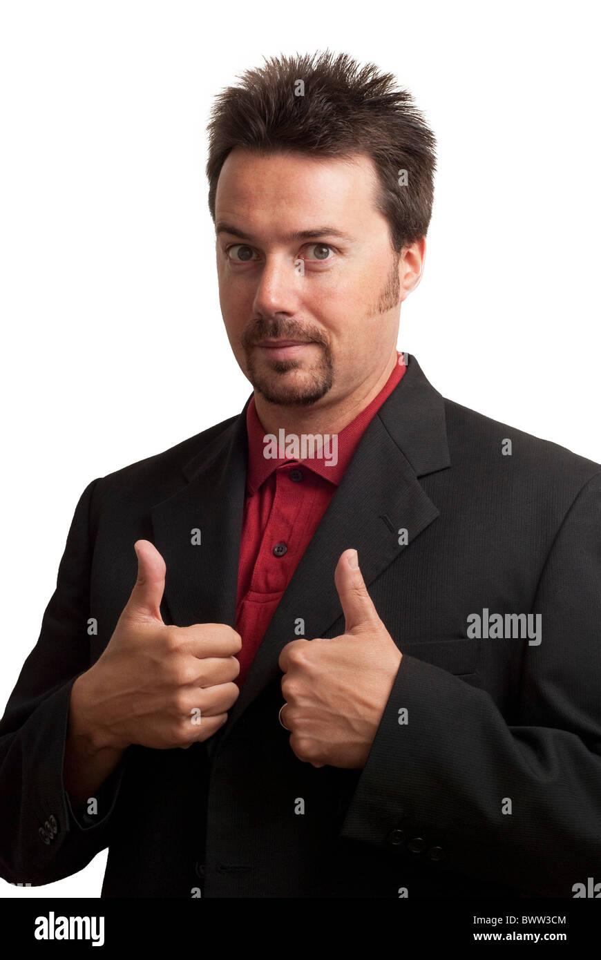 Nerdy looking business man, giving thumbs up. Studio Shot on white background - Stock Image