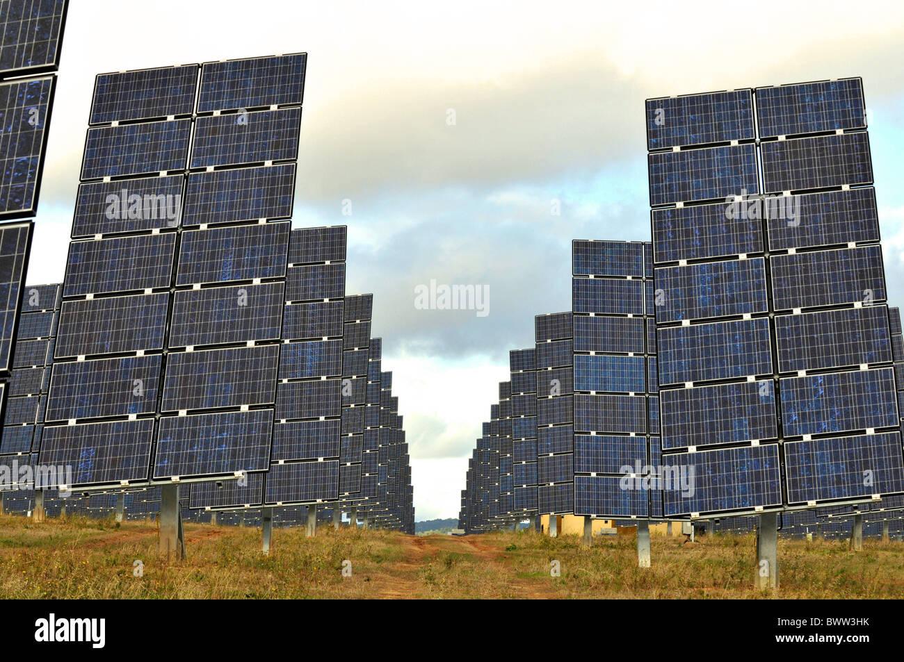 Solar power farm, solar power park complex at Los Arcos, Navarra, Spain - Stock Image